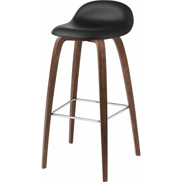 "3D Stool Leather Shell - Wood Base - 25.6"" Seat Height"