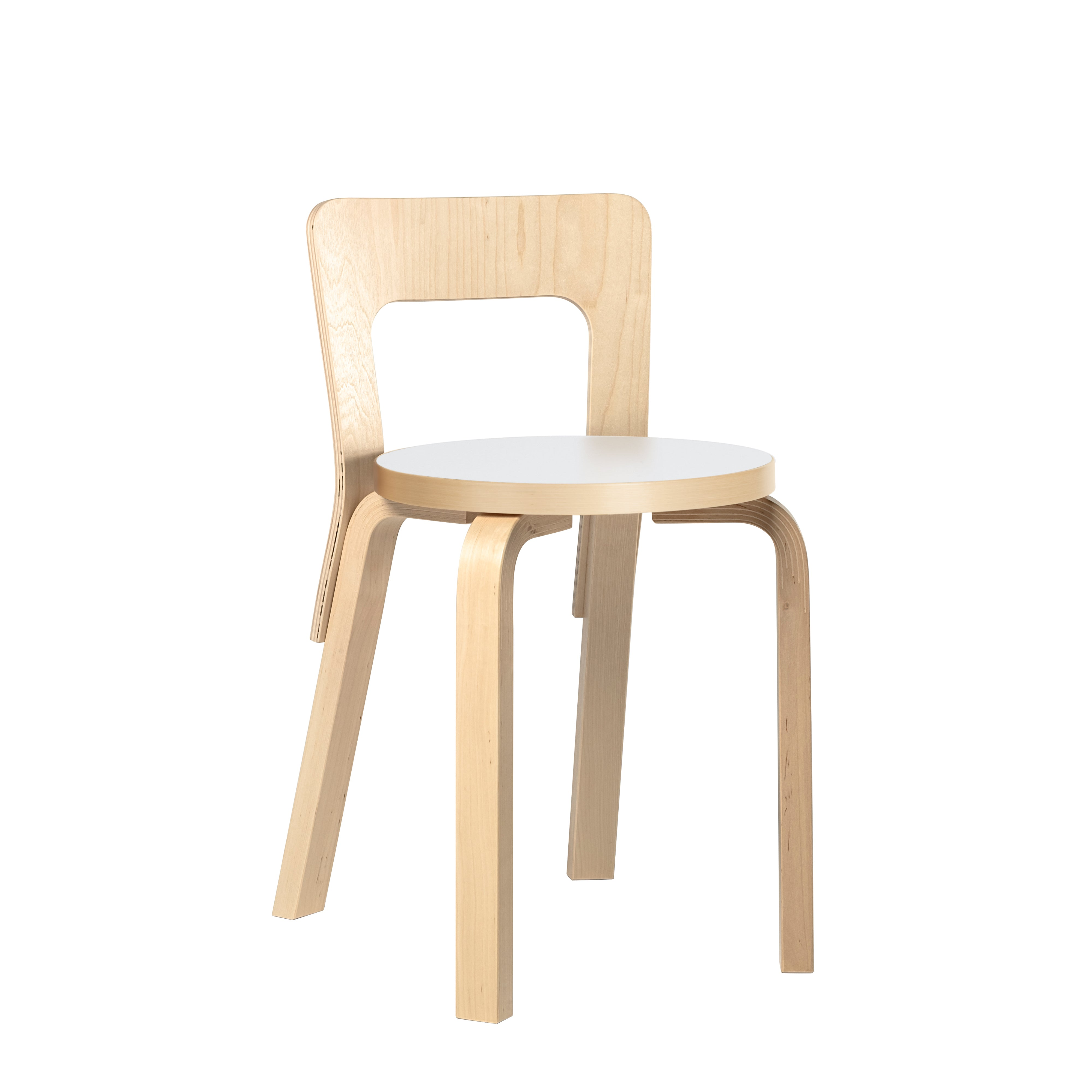 Artek Chair 65 Natural Lacquered White Seat