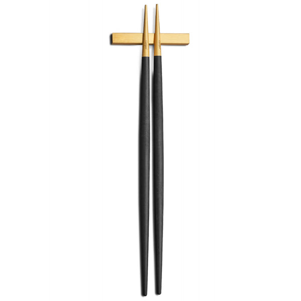 Goa Chopstick Set - Brushed Gold and Black Handle