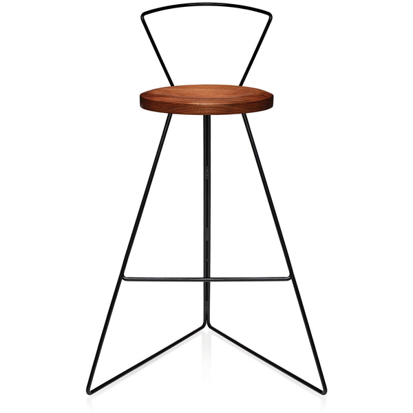 The Coleman Stool With Backrest - Walnut