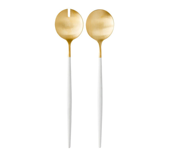 Goa Salad Servers - Brushed Gold/White Handle