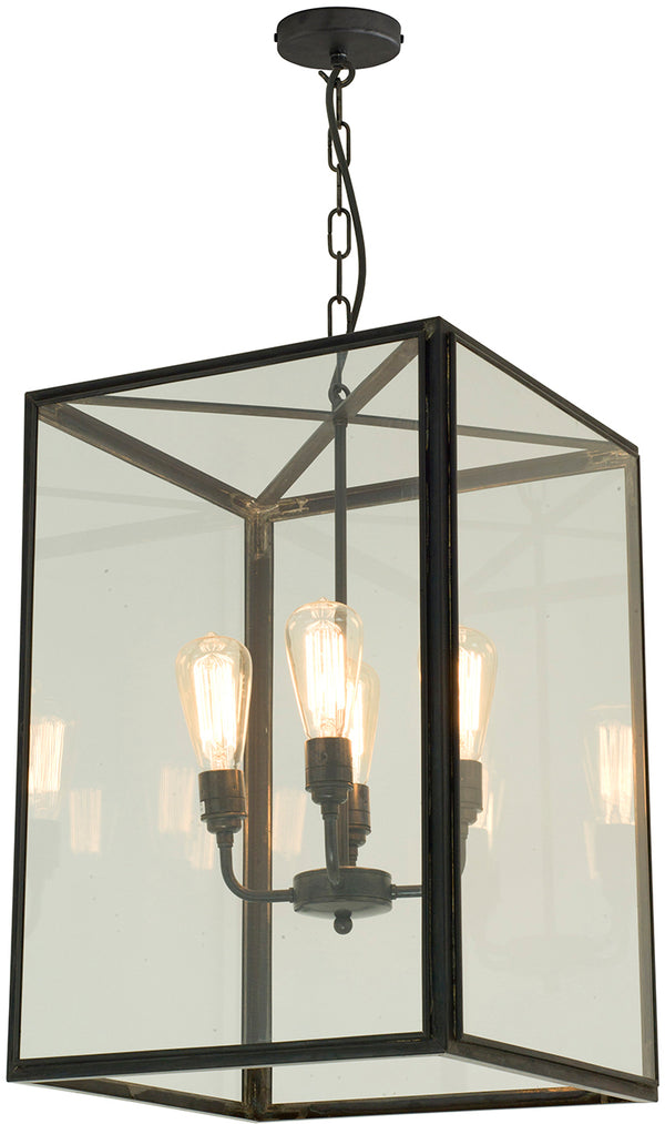 Square Pendant With 4 Lampholders Open Top - Extra Large