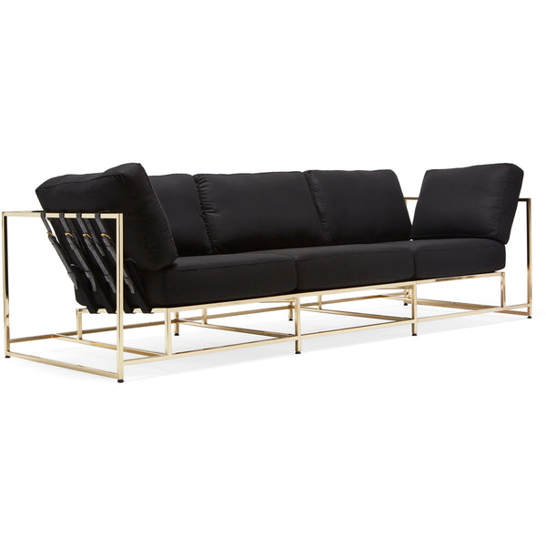 Inheritance Sofa - Black Wool & Brass