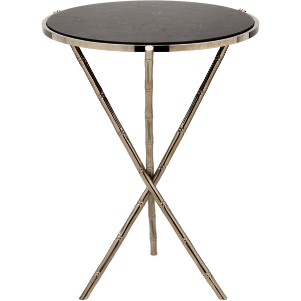 Bamboo Side Table w/ Marble Top - Medium