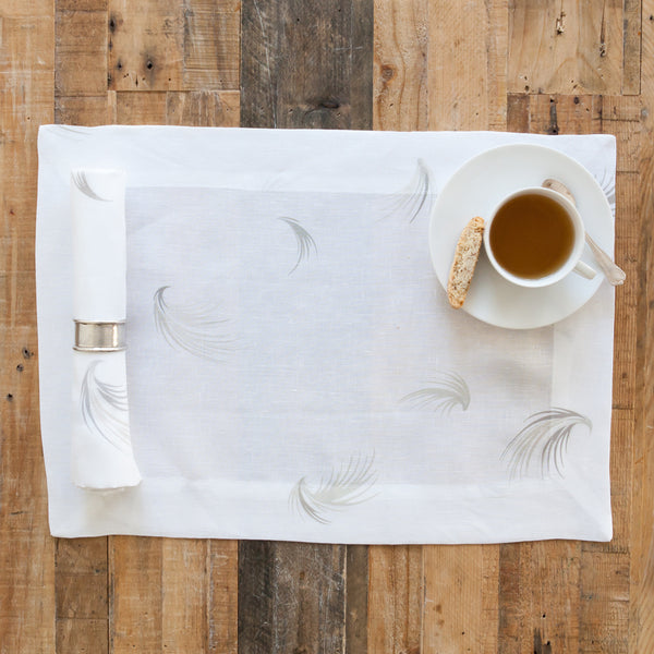 Grania White Linen Napkin with Feather Print (Set of Four)