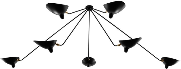 Serge Mouille 7 Still Arm Spider Ceiling Lamp
