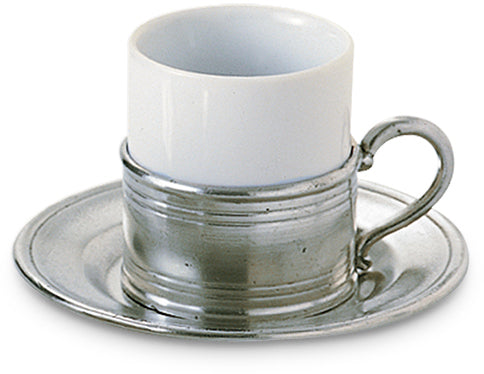 Espresso Cup with Pewter Saucer - Set of 2