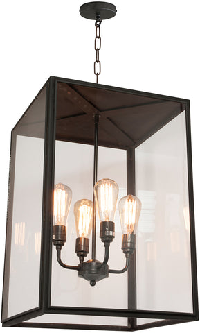 Davey Lighting 116900 Square Pendant With Four Lampholders Closed Top