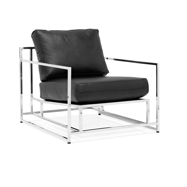 Parallel Leather Armchair - Black Leather & Polished Nickel