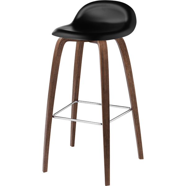 "3D Stool Hirek PP Plastic Shell - Wood Base - 25.6"" Seat Height"