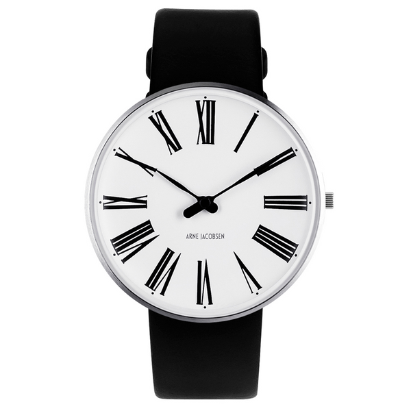 Roman Wristwatch - White Face/Black Leather