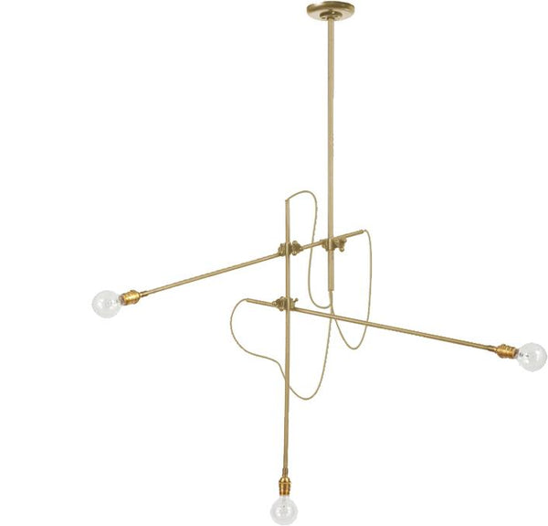 3 Arm Brass Chandelier