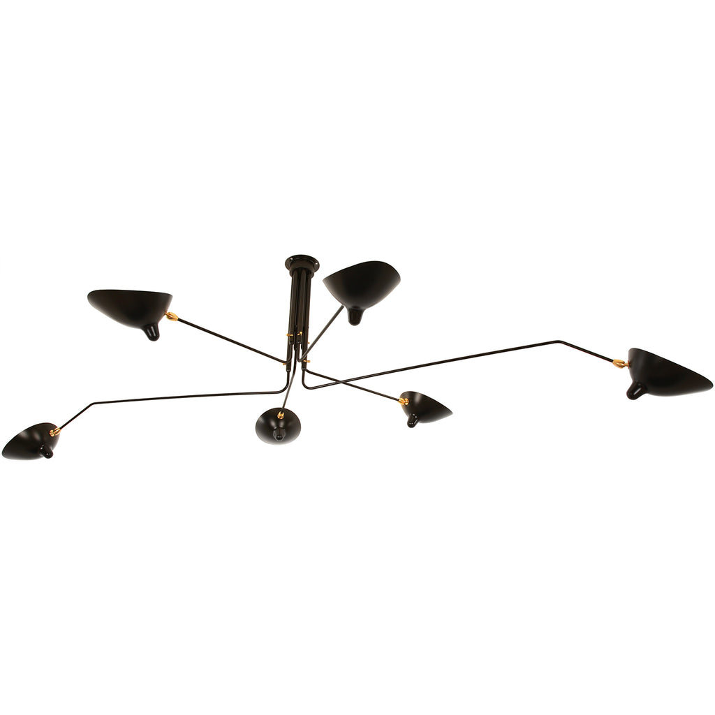 Serge mouille 6 arm rotating ceiling lamp