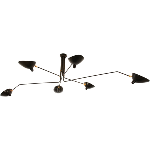 Serge Mouille 6-Arm Rotating Ceiling Lamp