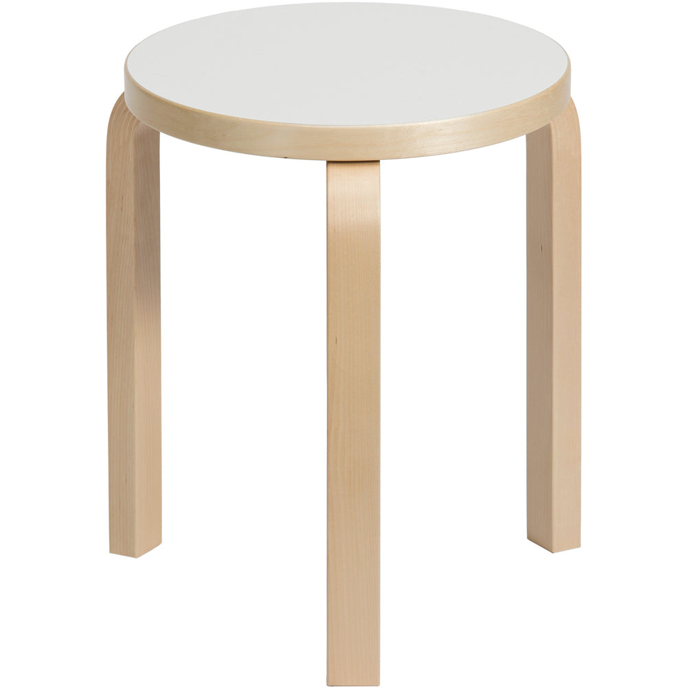 Artek Alvar Aalto Stool 60 Birch White Laminate Seat top of seat white only