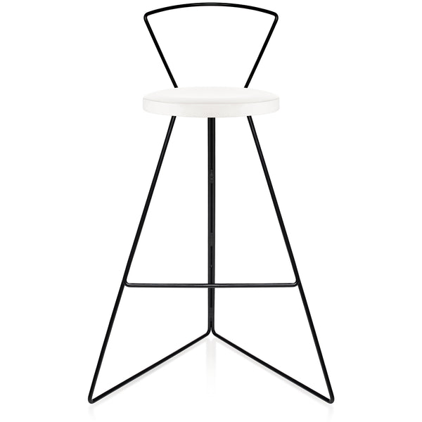 The Coleman Stool With Backrest - White Marble