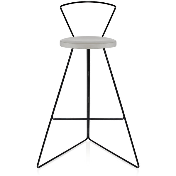The Coleman Stool With Backrest - Ecru