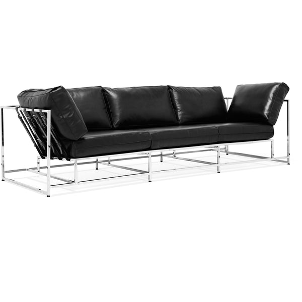 Parallel Leather Sofa - Black Leather & Polished Nickel