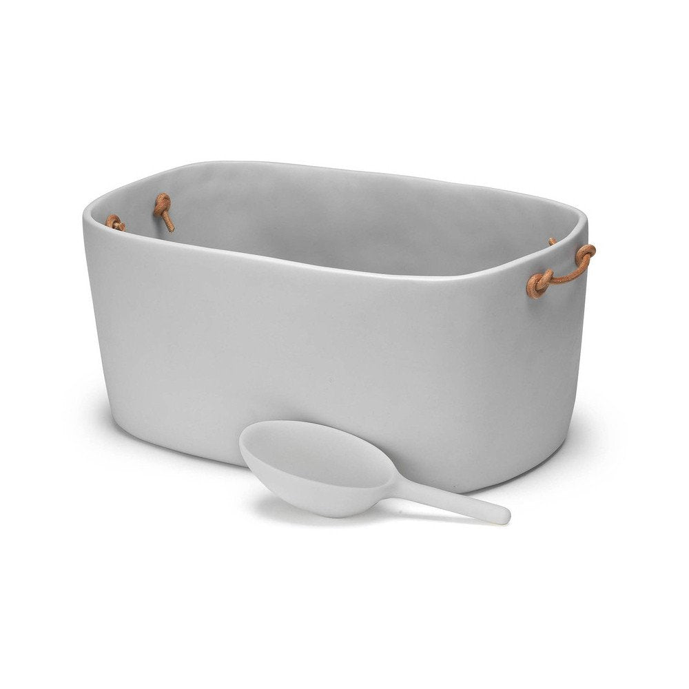 Resin Large Champagne Bucket - Leather Handles - Cement