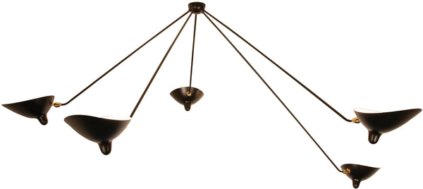 Serge Mouille 5 Still Arm Spider Ceiling Lamp