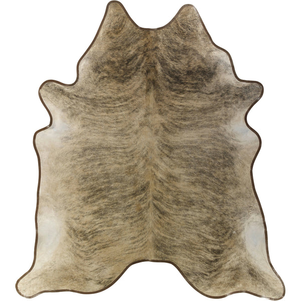 Cowhide Rug - Leather Trimmed Light Brindle
