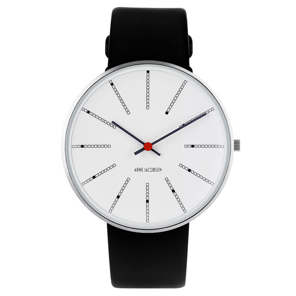 Banker's Wristwatch - White Face/Black Calf Leather