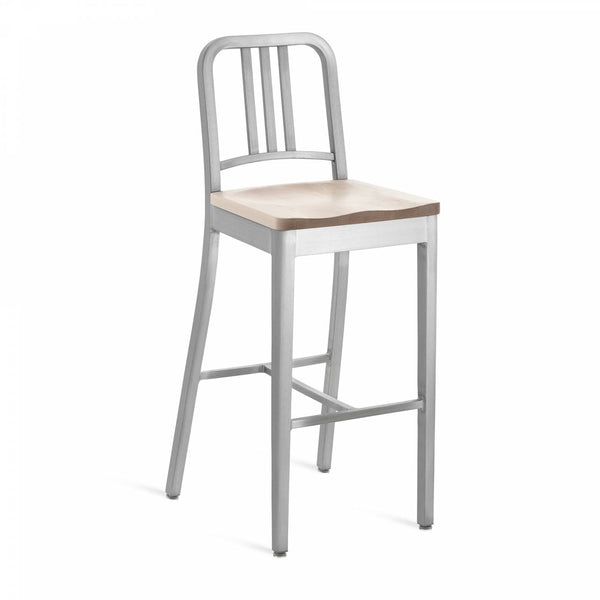 1104 Navy Barstool With Wood Seat