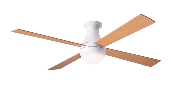 Ball Ceiling Fan Flush With LED Light - White