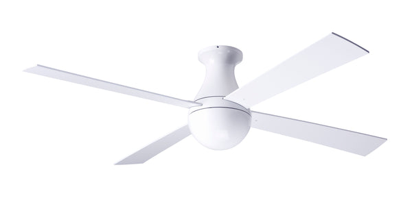 Ball Ceiling Fan Flush - White