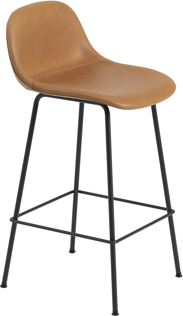 Fiber Bar Stool With Backrest - Tube Base