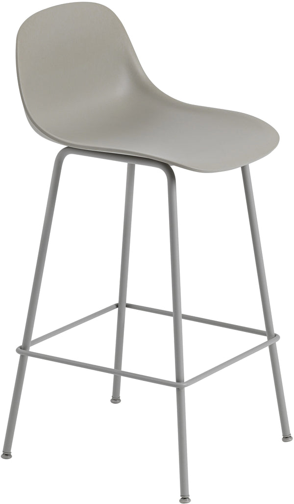 Fiber Counter Stool With Backrest - Tube Base