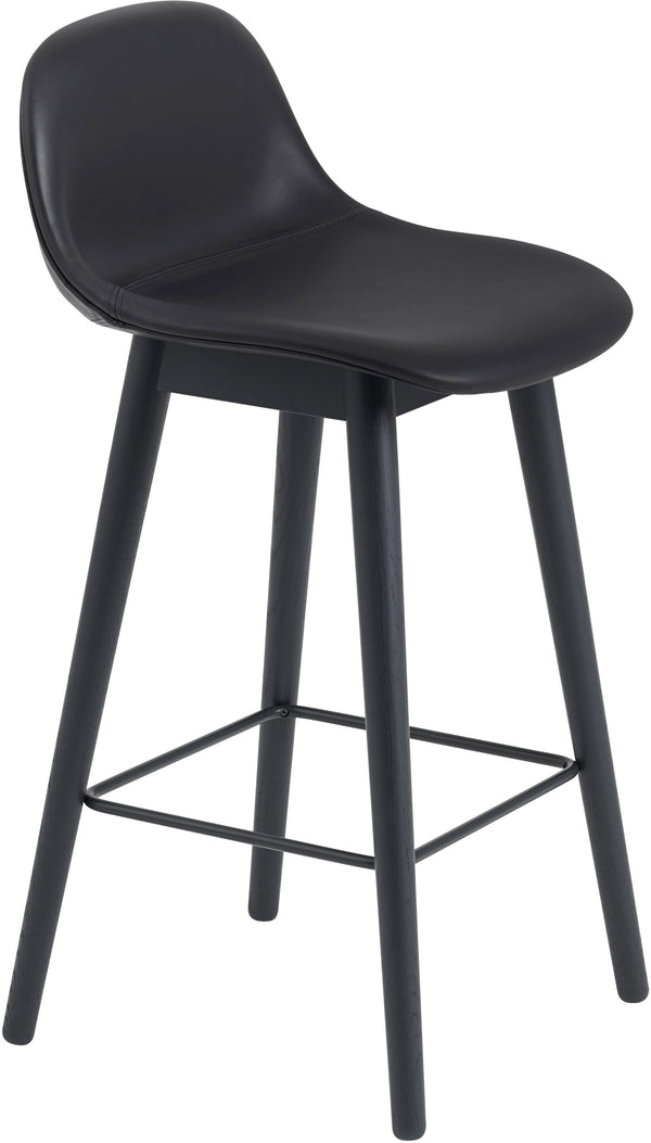 Fiber Bar Stool With Backrest - Wood Base