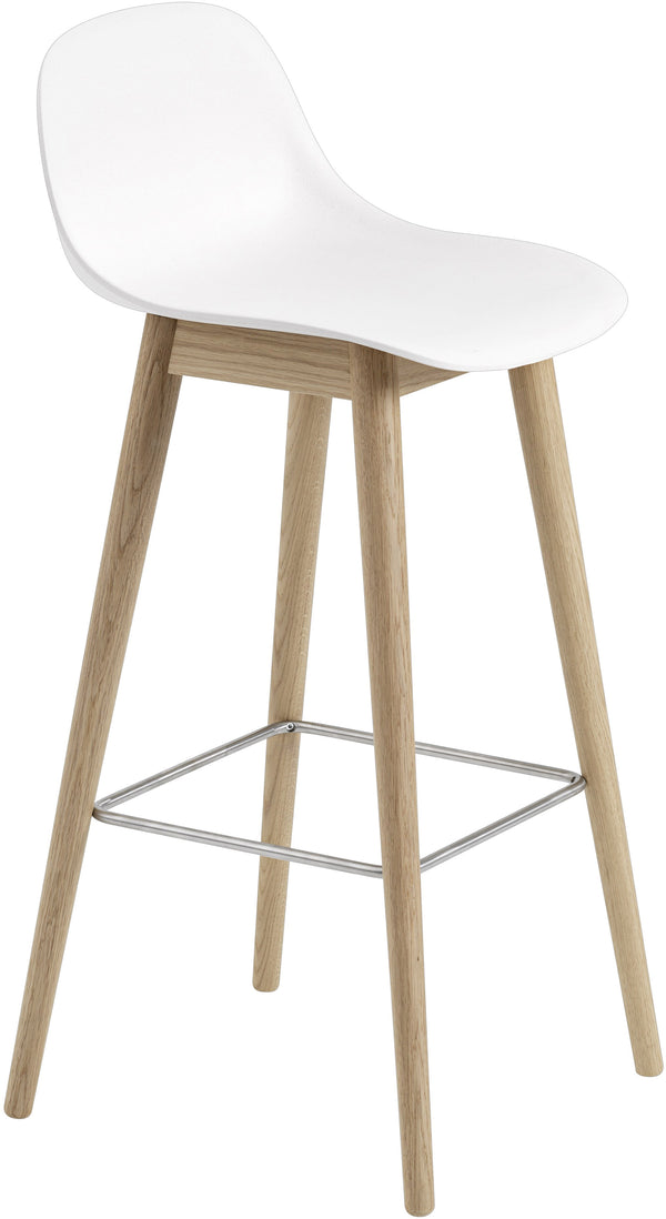 Fiber Counter Stool With Backrest - Wood Base