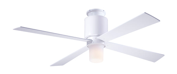 Flush Ceiling Fan With LED Light - White
