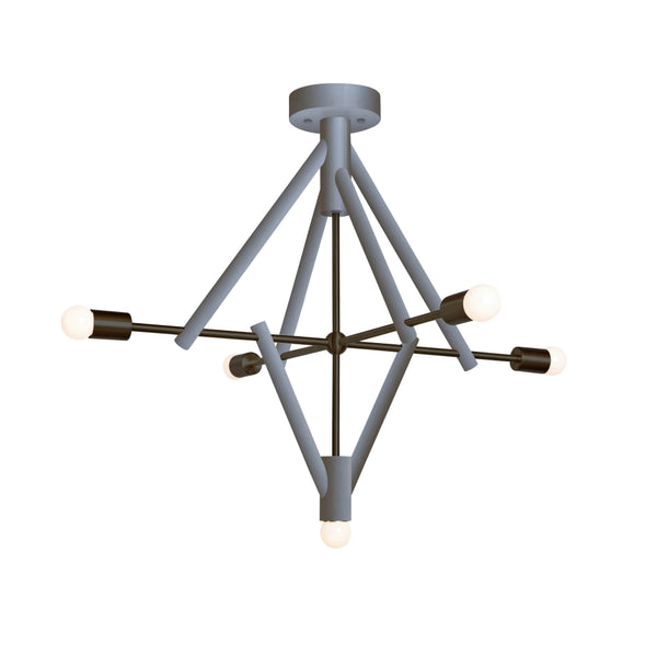 Lodge Chandelier Five - Painted Wood Finish