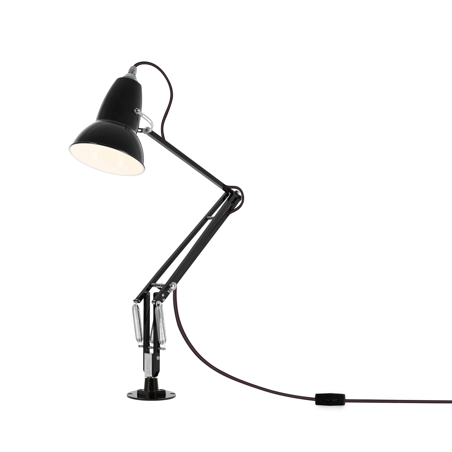 Anglepoise Original 1227 Desk Lamp with Desk Insert Jet Black