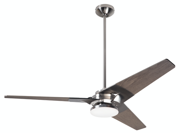 "Torsion Ceiling Fan 52"" With Light - Bright Nickel"