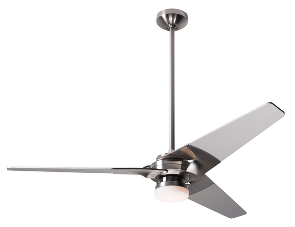 "Torsion Ceiling Fan 62"" With Light - Bright Nickel"