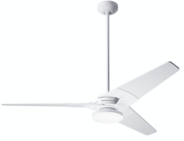 "Torsion Ceiling Fan 62"" With Light - Gloss White"