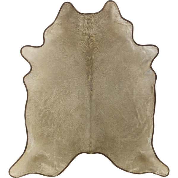 Cowhide Rug - Leather Trimmed Champagne