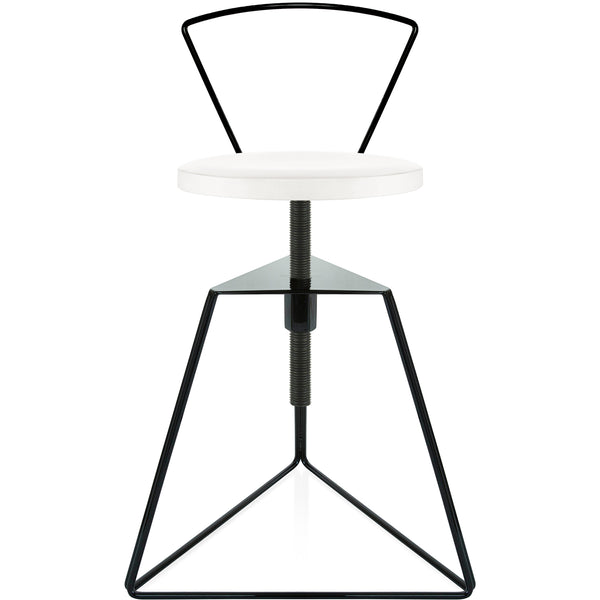 The Camp Stool With Backrest - White Marble