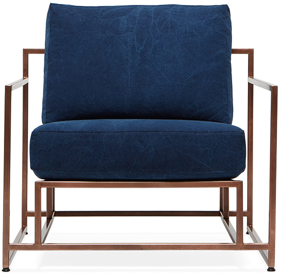 Inheritance Armchair- Antique Copper/Indigo Canvas