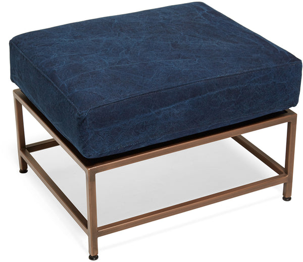 Inheritance Ottoman - Antique Copper/Indigo Canvas