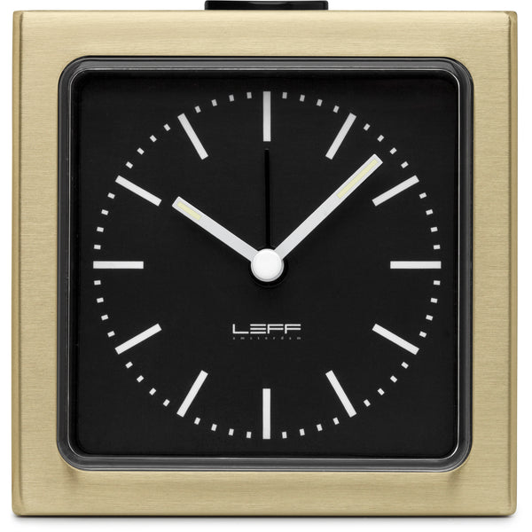 Block Brass Clock - Black Index
