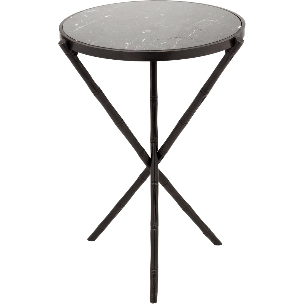 Bamboo Side Table W/ Marble Top   Small