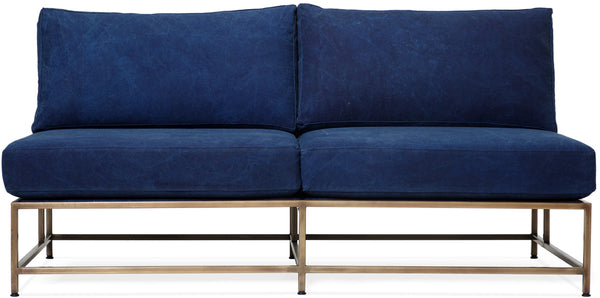 Inheritance Love Seat - Antique Brass/Indigo Canvas