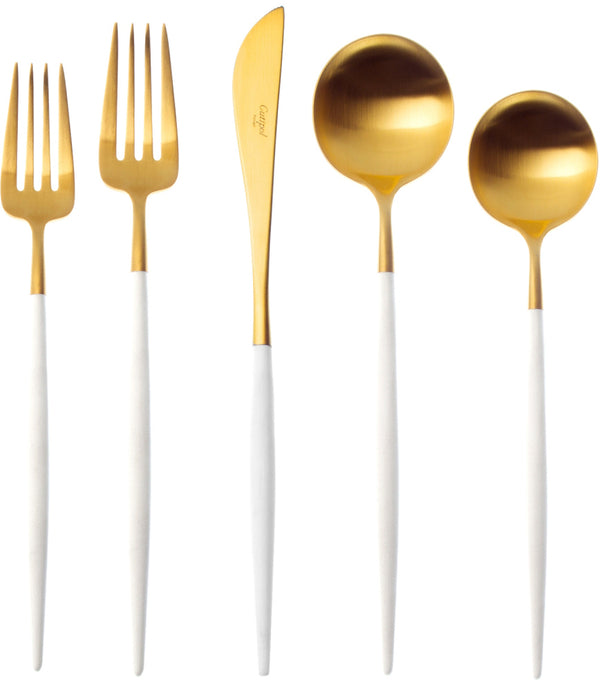 Goa Cutlery White Handle - Brushed Gold - Boxed Sets