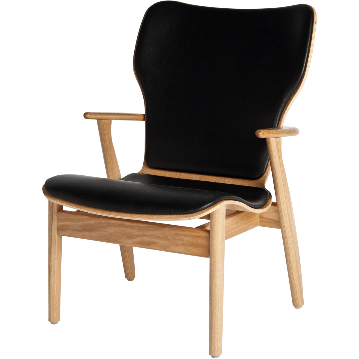 Domus Lounge Chair - Oak/Leather - Black Leather