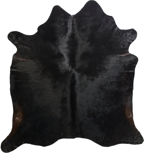 Cowhide Rug - Solid Black Natural/Brown Undertones