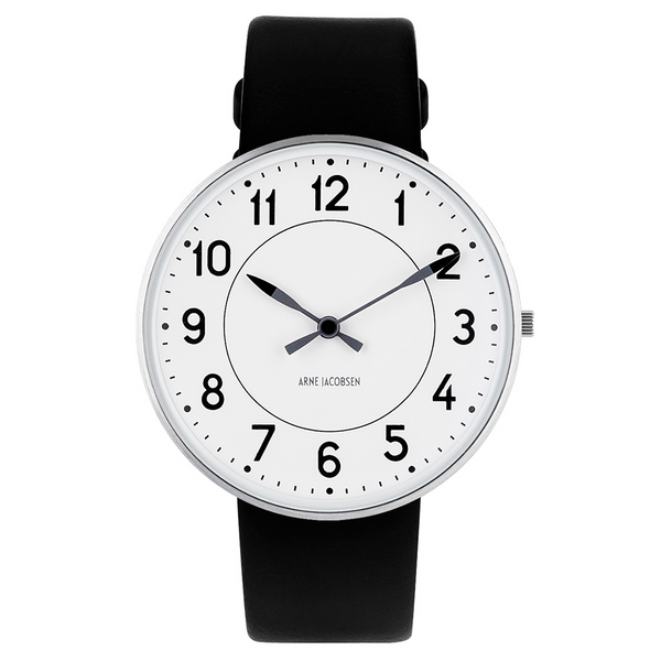 Station Wristwatch - White Face/Black Leather